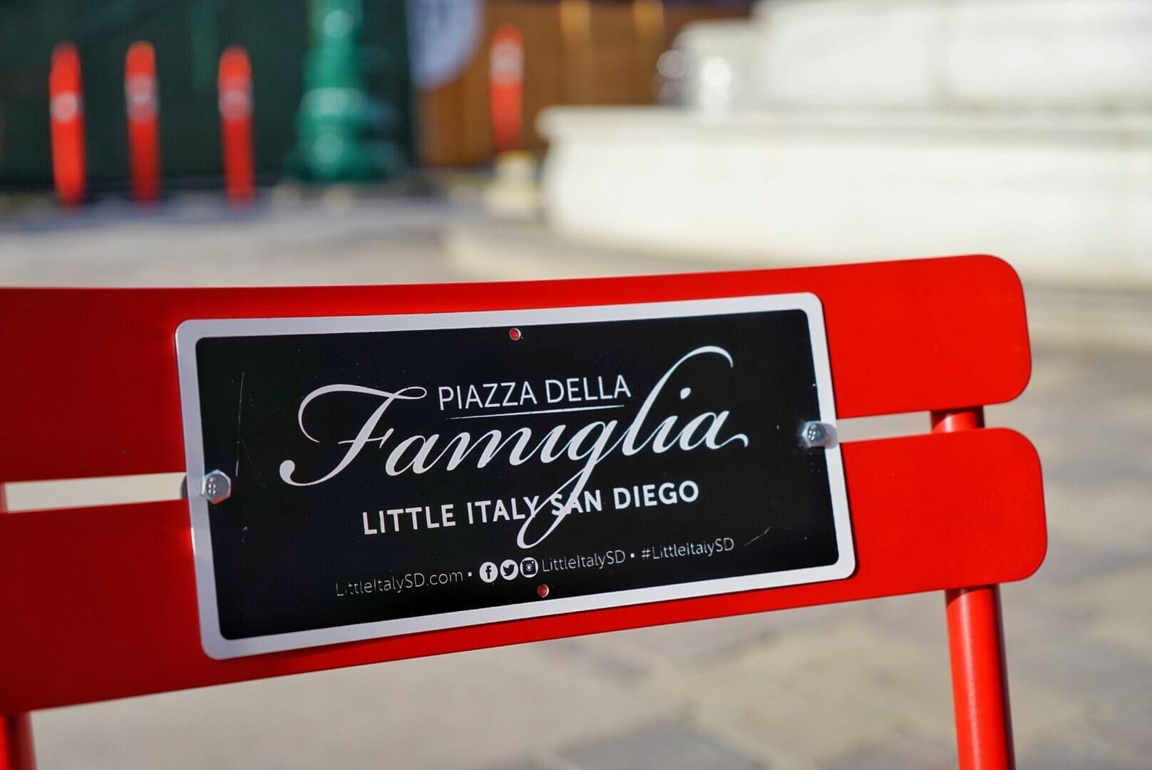 Red chair in the Piazza Della Famiglia