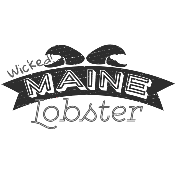 Wicked Maine Lobster Logo in black and white