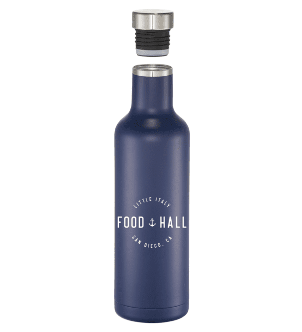 Little Italy Food Hall insulated water bottle in blue