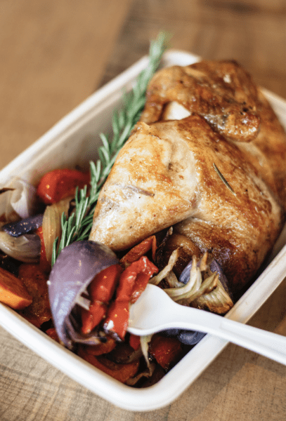Photo of Roast Chicken with roasted vegetables on the side