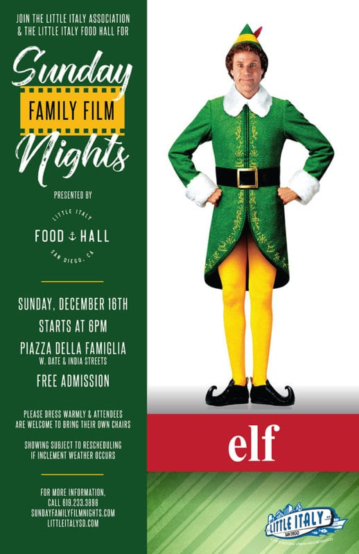 Elf Sunday Family Film Nights graphic
