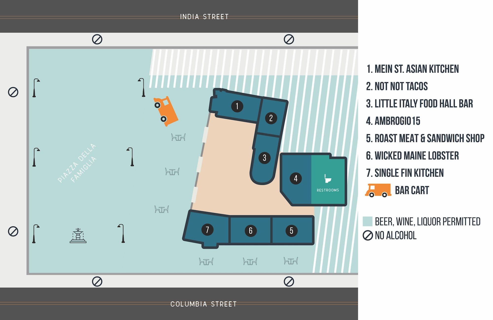 Little Italy Food Hall Map