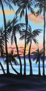 Painting of Palm Trees and ocean at sunset