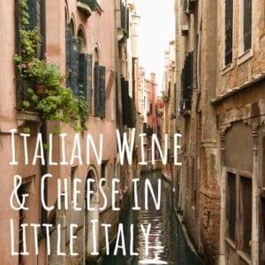Promotional graphic for the Italian Wine and Cheese event with Venissimo Cheese