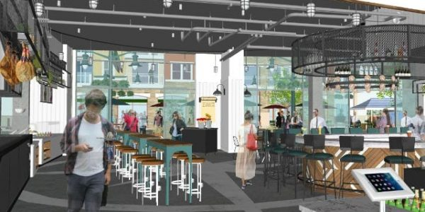Early rendering of the interior of Little Italy Food Hall
