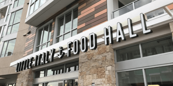 Screenshot of the exterior of Little Italy Food Hall taken by NBC 7