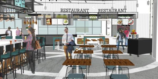 Early rendering of Little Italy Food Hall interioor